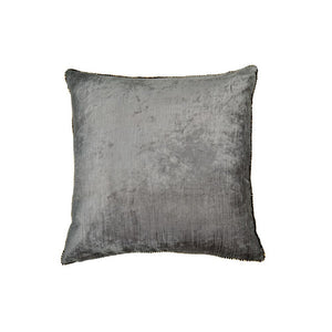 Velvet + Bead Pillow - Pearly Grey/ Antique Gold