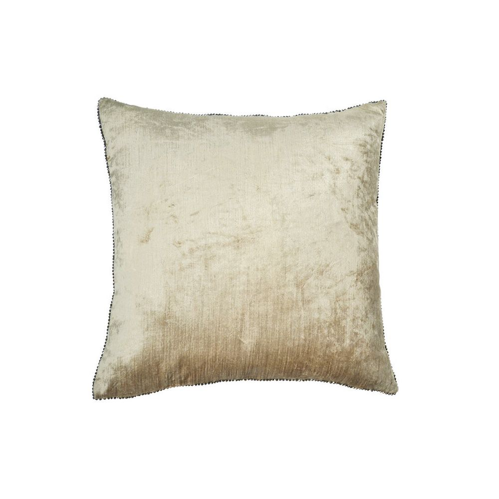 Velvet + Bead Pillow - Linen / Antique Gold