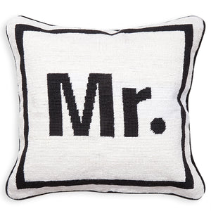 """Mr."" Needlepoint Throw Pillow"