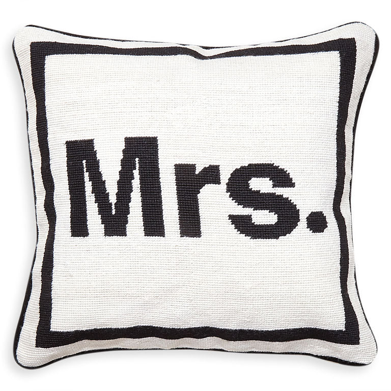 """Mrs."" Needlepoint Throw Pillow"