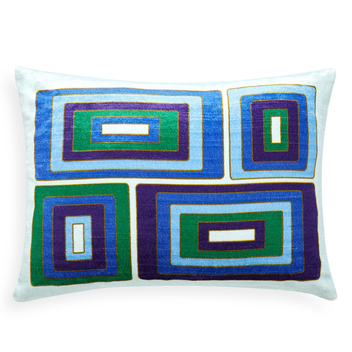 Emerald / Navy Milano Blocks Pillow