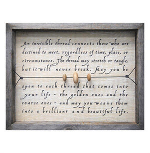 """An Invisible Thread"" Reclaimed Wood Wall Art"