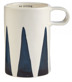 Porcelain Indigo Tall Mug - Be Strong
