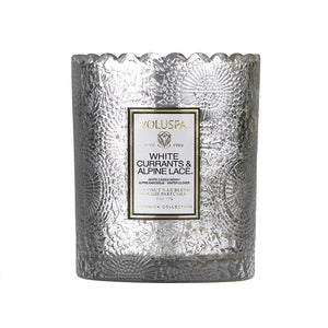 White Currants & Alpine Lace Scalloped Edge Glass Candle