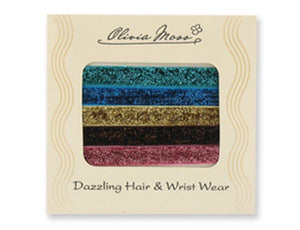 Pack of 5 Dazzling Hair or Wrist Ties
