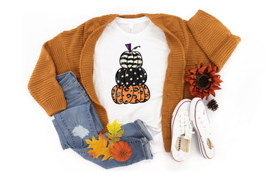 PREORDER - Black Pumpkin Stack Fall Boutique LONG SLEEVE Soft Tee