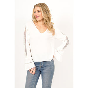 Women's Boho V-Neck Bell Sleeve Blouse w/ Lace Detailing