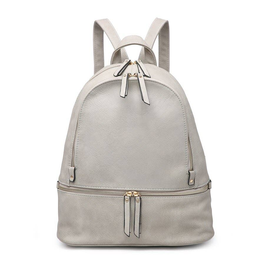 The Blake Vegan Leather Triple Zip Pocket Backpack - Light Grey - Monogrammable