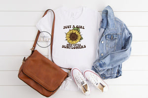 Just A Girl Who Loves Sunflowers SS Boutique Tee - Custom Printed Preorder Tees
