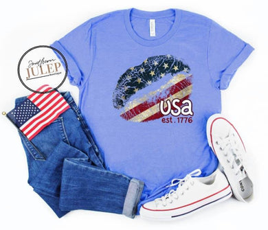 USA Est. 1776 Lips Stars & Stripes SS Boutique Tee - Custom Printed Preorder Tees