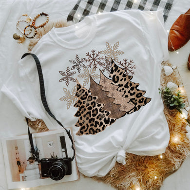 PREORDER-Leopard Glitter Christmas Trees & Snowflakes SHORT SLEEVE Boutique Soft Tee