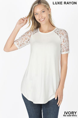 Ivory Ultra Soft Luxe Rayon Lace Raglan Sleeve Top
