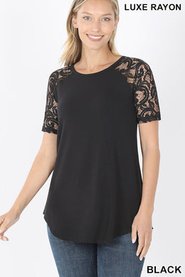 Black Ultra Soft Luxe Rayon Lace Raglan Sleeve Top