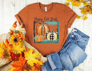 PREORDER - Happy Fall Y'all Leopard Plaid Pumpkins Boutique Soft Tee