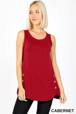 Sleeveless Tunic Top w/ Wood Button Details  - Cabernet Wine