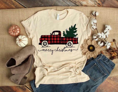 PREORDER-Red Plaid Tree Truck Merry Christmas SS Boutique Soft Tee