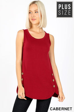 Curvy Sleeveless Tunic Top w/ Wood Button Details  - Cabernet Wine