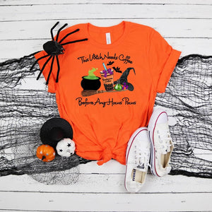 PREORDER-This Witch Needs Coffee Halloween Boutique Soft Tee-Orange