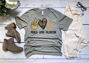 PREORDER-Peace Love Yellowstone SS Boutique Soft Tee