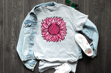 PREORDER - Pink Sunflower Breast Cancer Awareness Boutique Tee