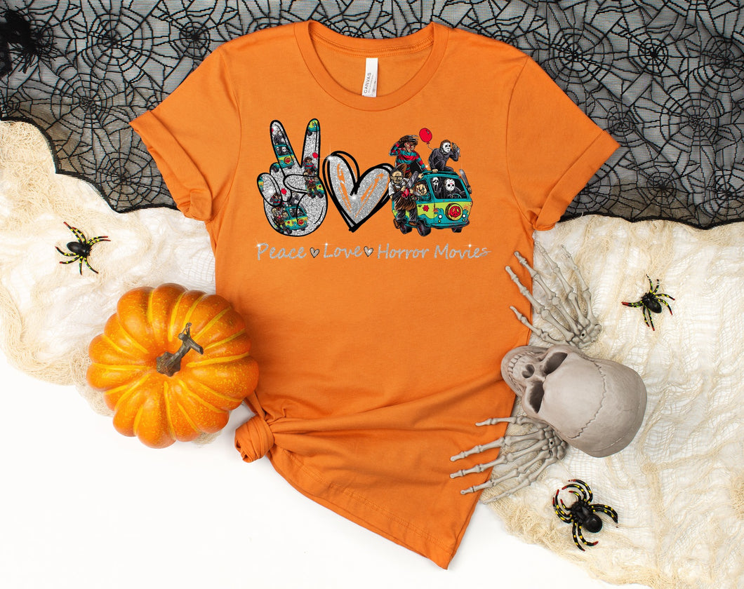PREORDER - Peace Love Horror Movies Halloween Boutique Soft Tee