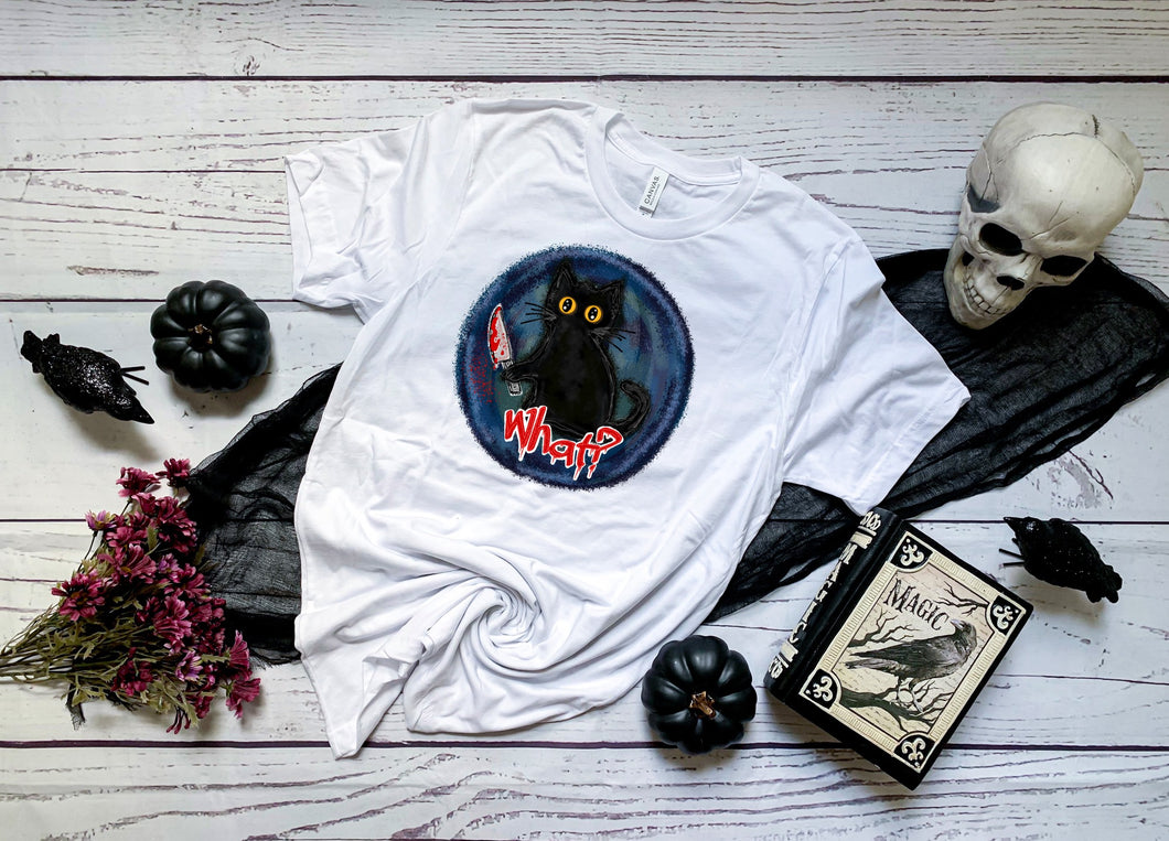 PREORDER- What? Halloween Black Cat Boutique Soft Tee