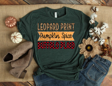 PREORDER-Leopard Print Pumpkin Spice Buffalo Plaid Boutique Soft Tee