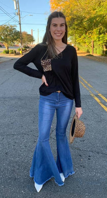 Black V-Neck Long Sleeve Tunic Top w/ Leopard Pocket