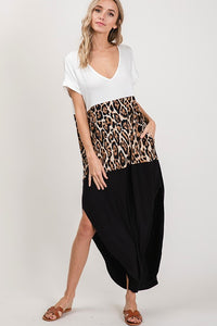 Leopard Color Blocked Pocketed Dolman Sleeve Maxi Dress - USA Made