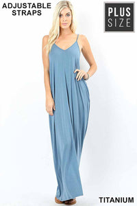 Curvy Dusty Denim V-Neck Cami Casual Maxi Dress w/ Pockets