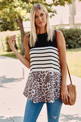 Loni Leopard & Striped Tank Top - Made In USA