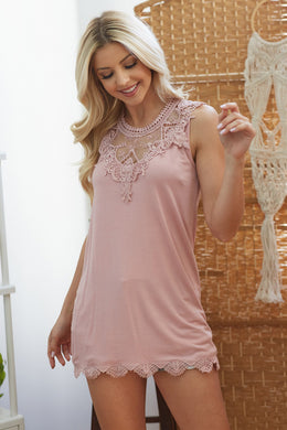 Roselyn Embroidery Lace Sleeveless Tank Top