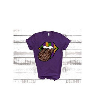 PREORDER - Mardi Gras Colored Lips w/ Leopard Tongue Boutique Soft Tee