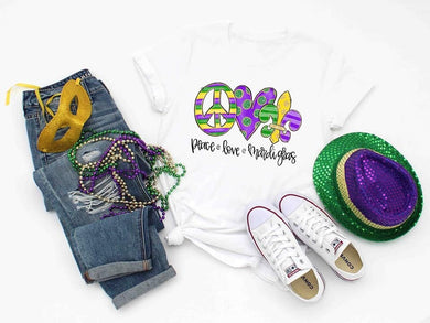 PREORDER - Peace Love Mardi Gras Boutique Soft Tee