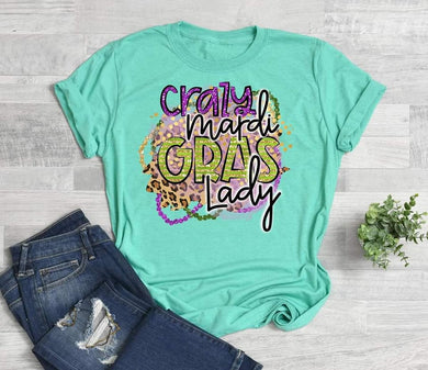 PREORDER - Crazy Mardi Gras Lady Boutique Soft Tee