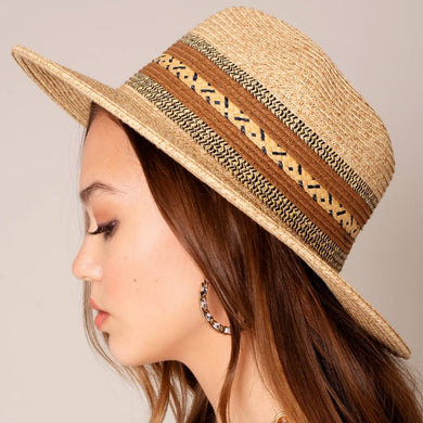 Ethnic Weave Straw Fedora Panama Sun Hat - Brown