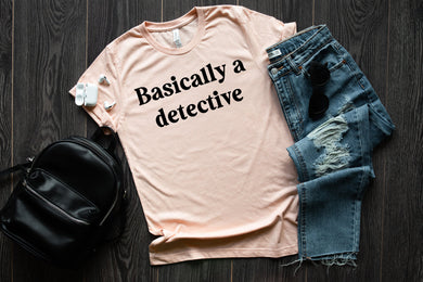 PREORDER - Basically A Detective Boutique Soft Tee - Heather Peach