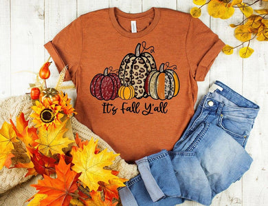 PREORDER - It's Fall Y'all Leopard Pumpkins Boutique Soft Tee