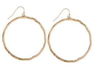 Hammered Circle Dangle Earrings - Gold