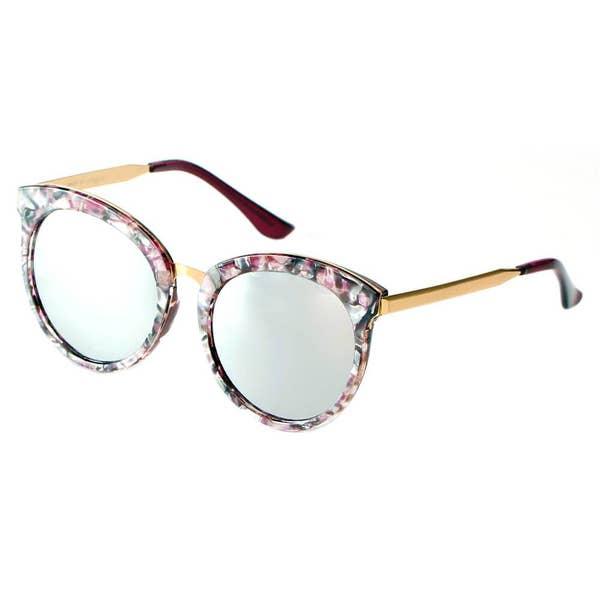 Womens Round Horn Rimmed Retro Fashion Sunglasses -4 Colors - CD04