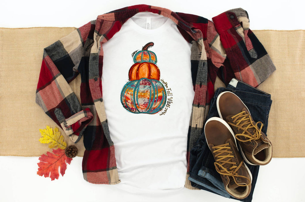 PREORDER - Fall Vibes Tie Dye Pumpkins Boutique Soft Tee