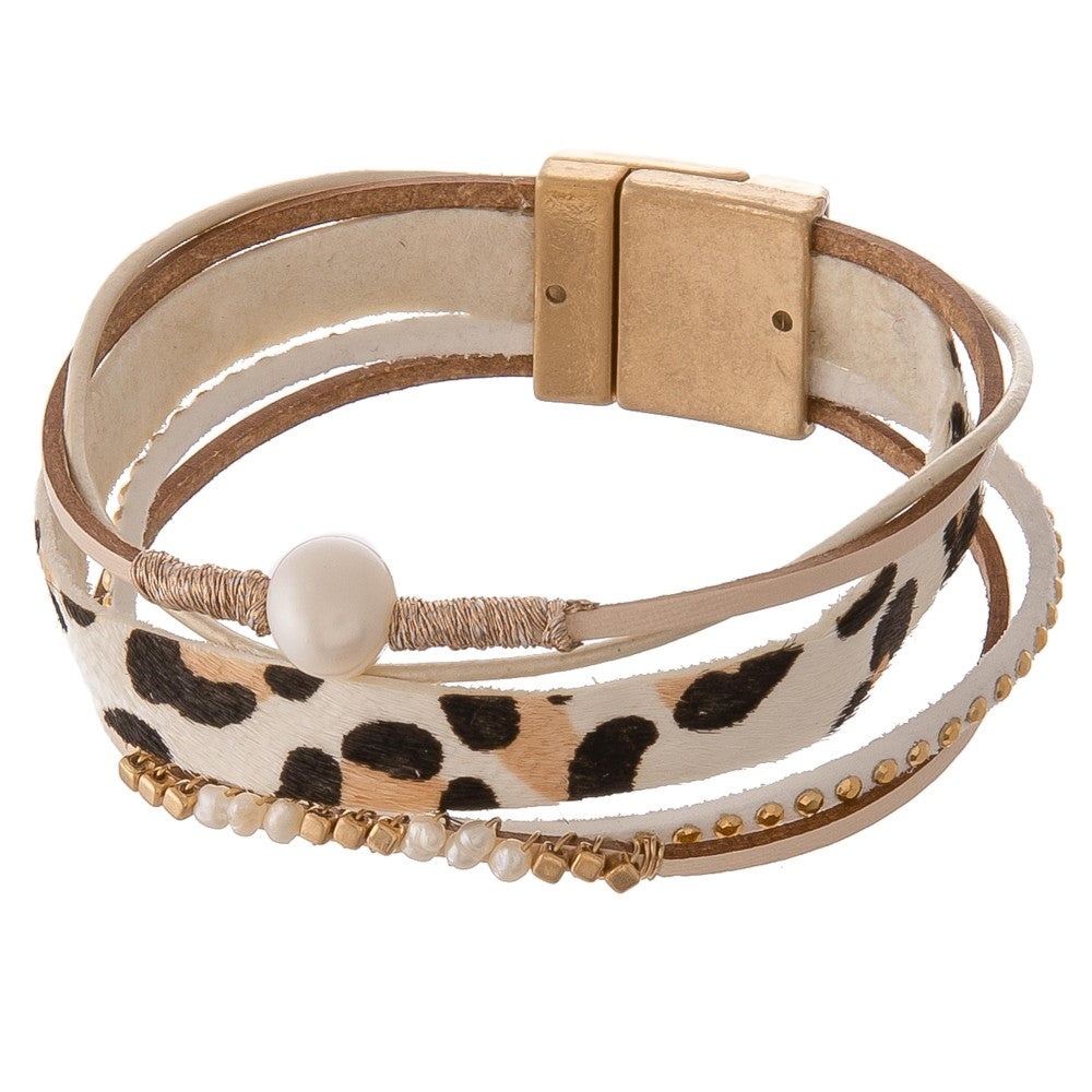 Multi Strand Genuine Leather Leopard Print Pearl Beaded Magnetic Bracelet - Natural