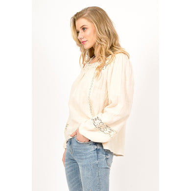 Women's Boho Balloon Sleeve Blouse w/ Crochet Lace Detailing