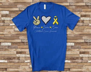 PREORDER-Peace Love Cure Childhood Cancer SS Boutique Soft Tee (Royal)