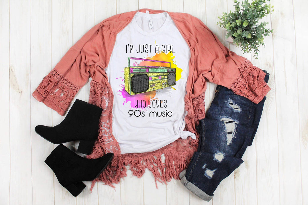 Girl Who Loves 90's Music SS Boutique Tee - Custom Printed Preorder Tees
