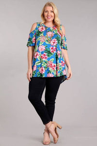 Plus Size Open Shoulder Tunic Top - Blue Tropical Floral Print (USA MADE)