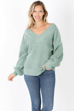 Oversized Slouchy Fit Waffle Knit V-Neck Sweater - Light Green
