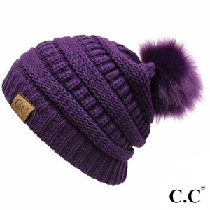 CC Classic Ribbed Knit Beanie Hat w/ Matching Color Fur Pom-Solid Color YJ-64 POM