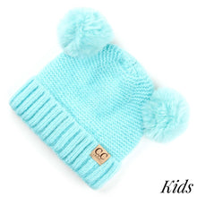 Load image into Gallery viewer, Kids CC Solid Color Double Pom Knit Beanie Hat - KIDS27