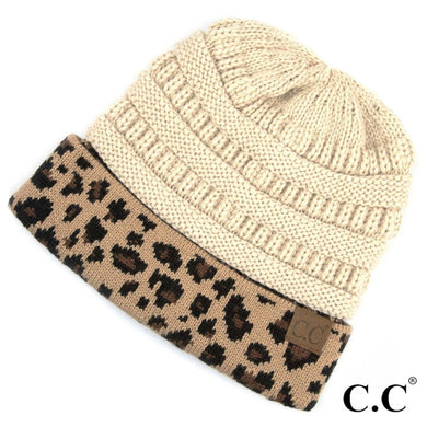 CC Solid Color Ribbed Knit Beanie with Leopard Cuff - HAT45